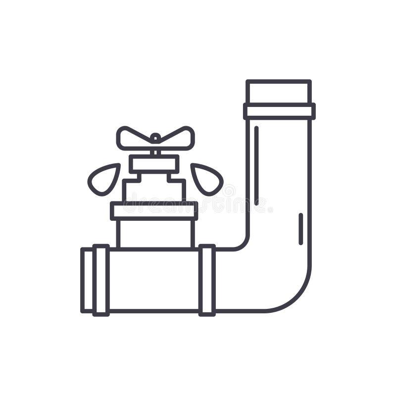 Het pictogramconcept van de watervoorzieningslijn Watervoorzienings vector lineaire illustratie, symbool, teken royalty-vrije illustratie