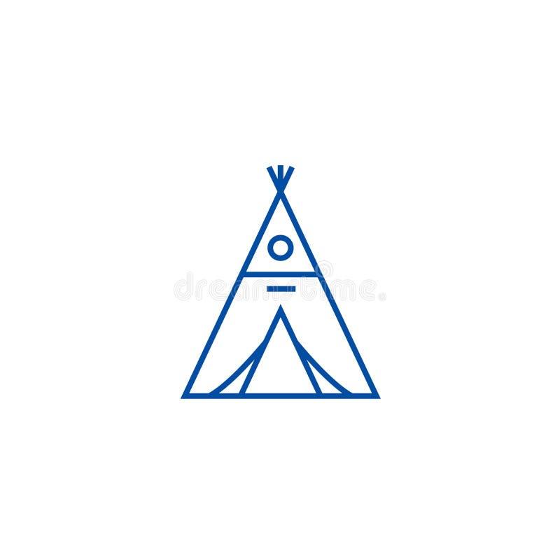 Het pictogramconcept van de wigwamlijn Wigwam vlak vectorsymbool, teken, overzichtsillustratie stock illustratie