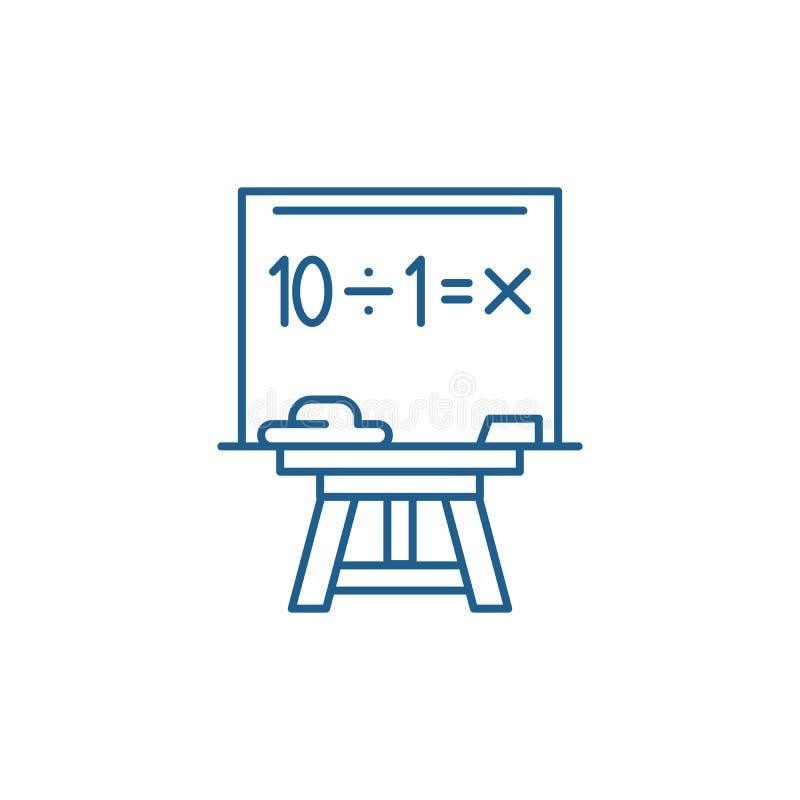 Het pictogramconcept van de wiskundelijn Wiskunde vlak vectorsymbool, teken, overzichtsillustratie stock illustratie