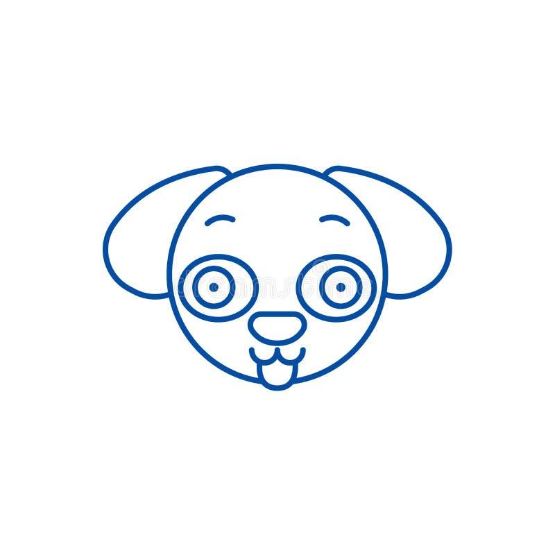 Het pictogramconcept van een hond van de emojilijn Emoji van een hond vlak vectorsymbool, teken, overzichtsillustratie stock illustratie