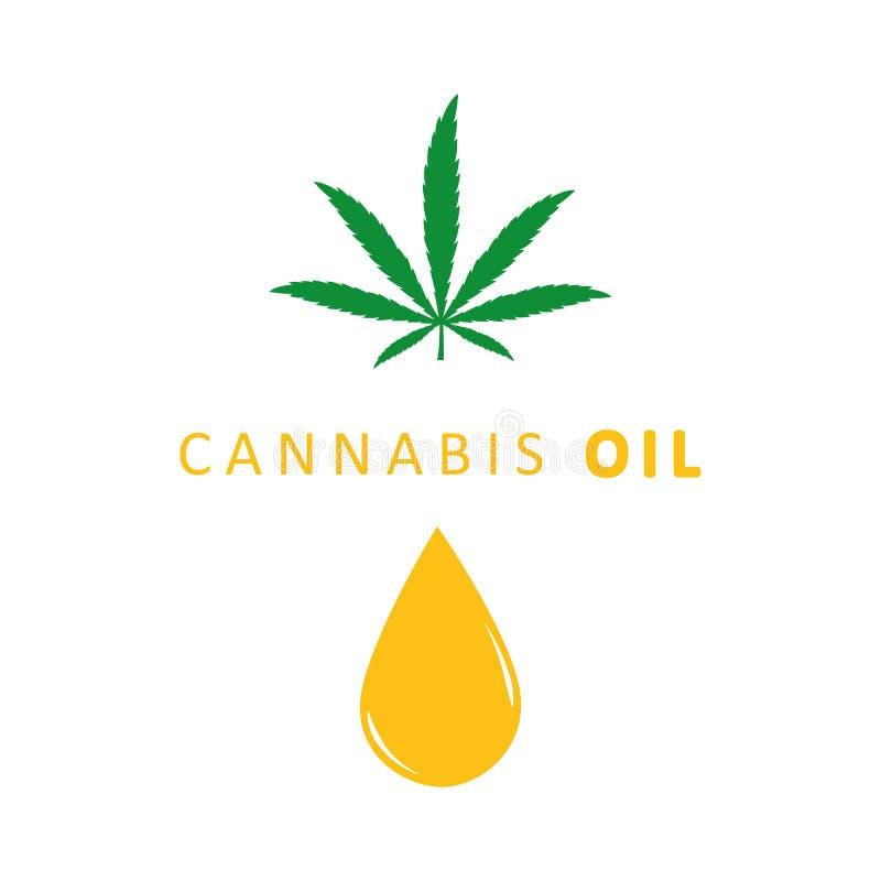Het pictogramdaling en blad van de cannabisolie op witte achtergrond wordt geïsoleerd die vector illustratie