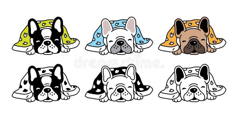 Het pictogramembleem die van de hond vector Frans buldog de algemene krabbel van het de illustratiesymbool van het beeldverhaalka stock illustratie