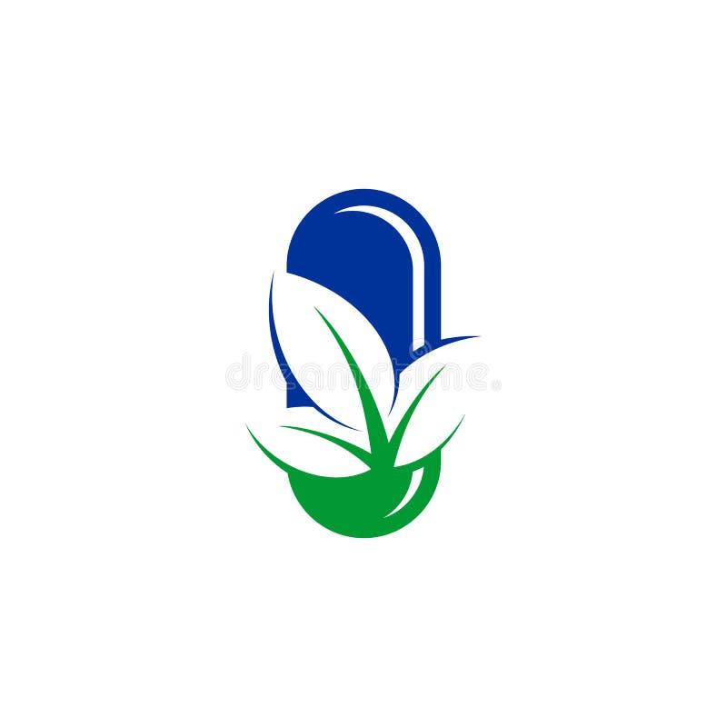 Het pictogramembleem van bladcapsules royalty-vrije illustratie