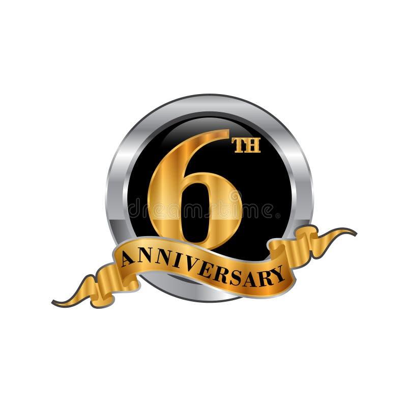 het pictogramembleem van de de 6de jarenverjaardag Grafisch ontwerpelement vector illustratie