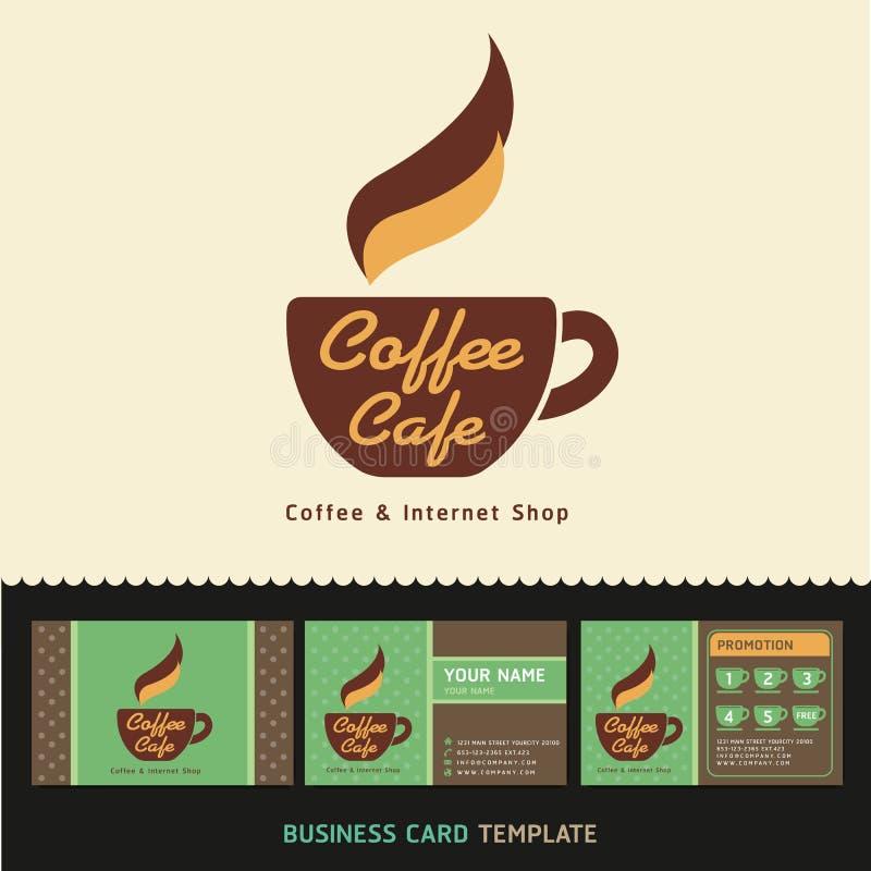 Het pictogramembleem van de koffiekoffie en adreskaartjes. vector illustratie