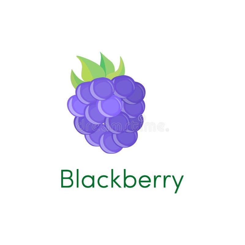 Het pictogramfruit van de beeldverhaalbraambes op wit wordt geïsoleerd dat Vector illustratie royalty-vrije illustratie