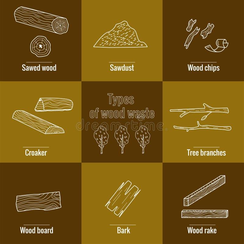 Het pictograminzameling van de lijnstijl - houtafvalelementen stock illustratie