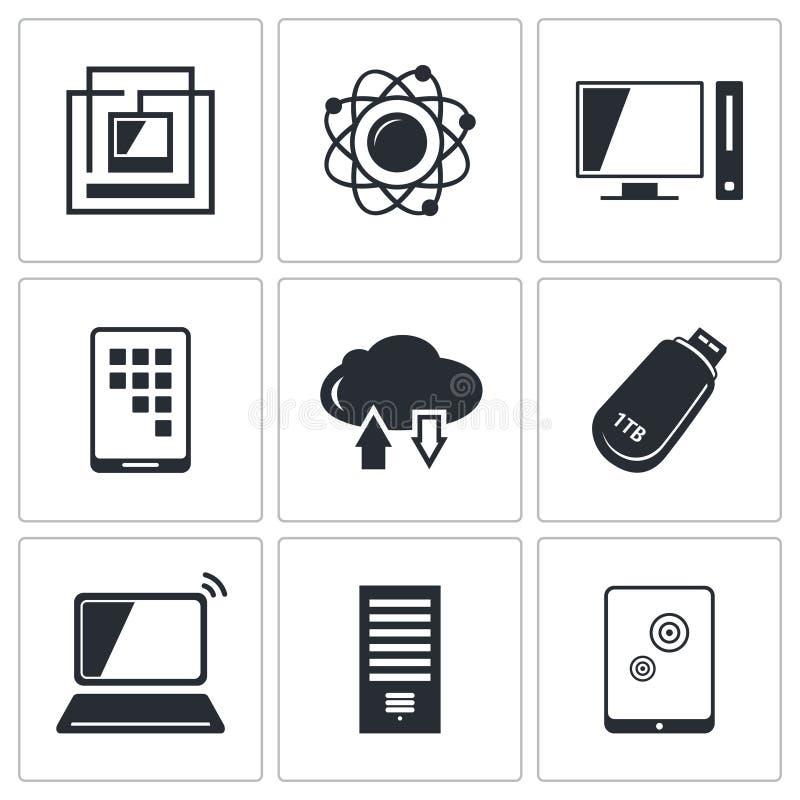 Het pictograminzameling van de uitwisselings van informatie technologie royalty-vrije illustratie