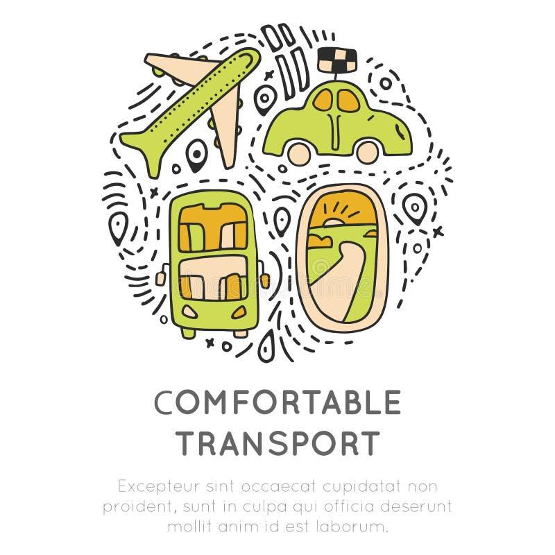 Het pictograminzameling van het reisvervoer Het reizende concept van vervoerspictogrammen in ronde vorm met decoratieve elementen royalty-vrije illustratie