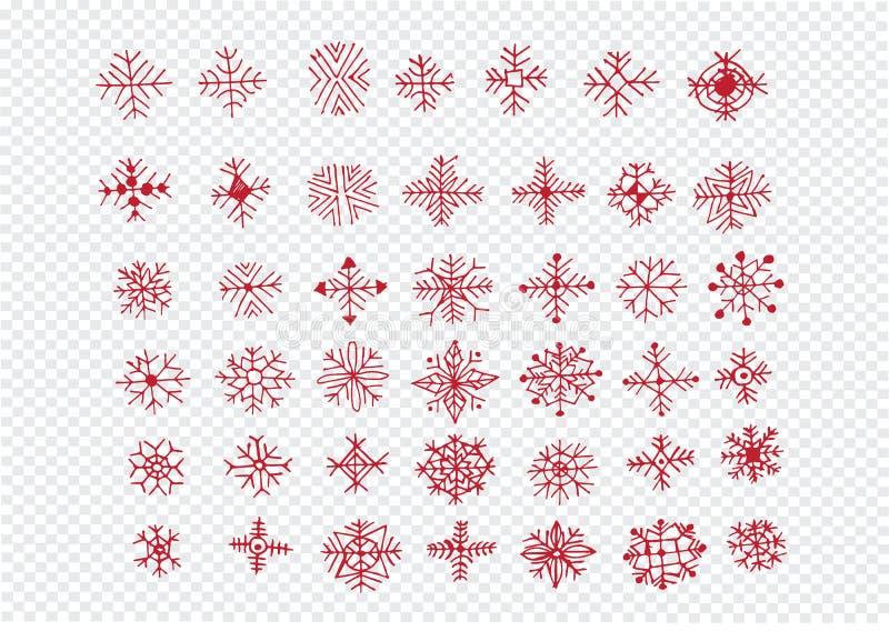 Het pictograminzameling van sneeuwvlokken vector illustratie