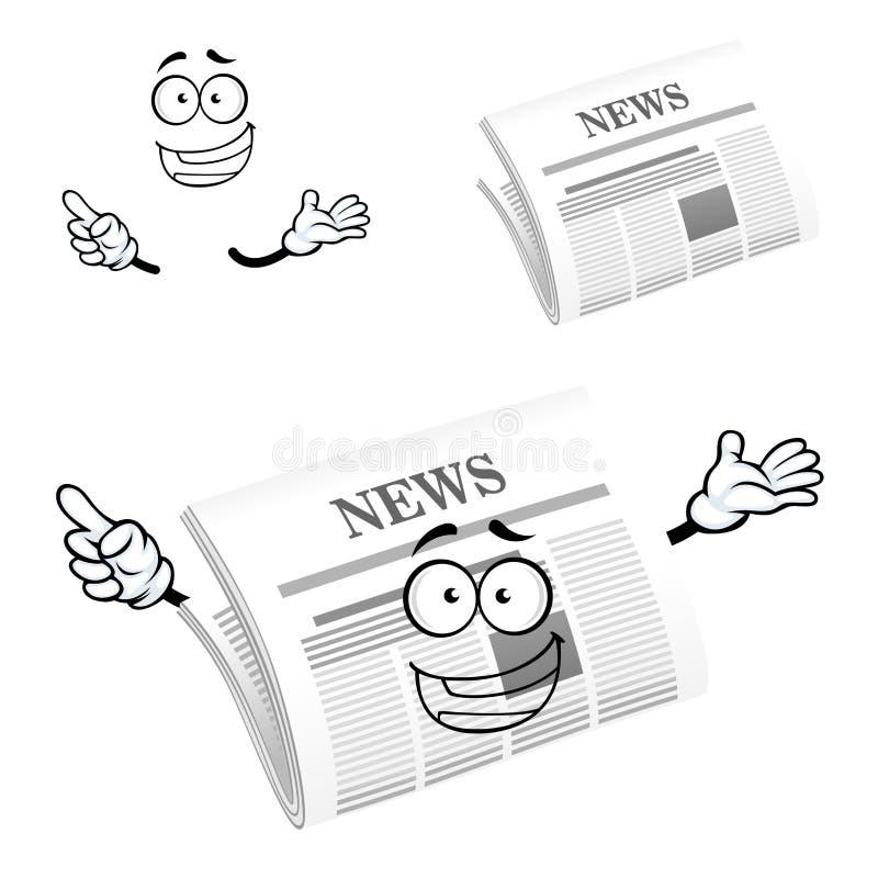 Het pictogramkarakter van de beeldverhaal gelukkig krant royalty-vrije illustratie