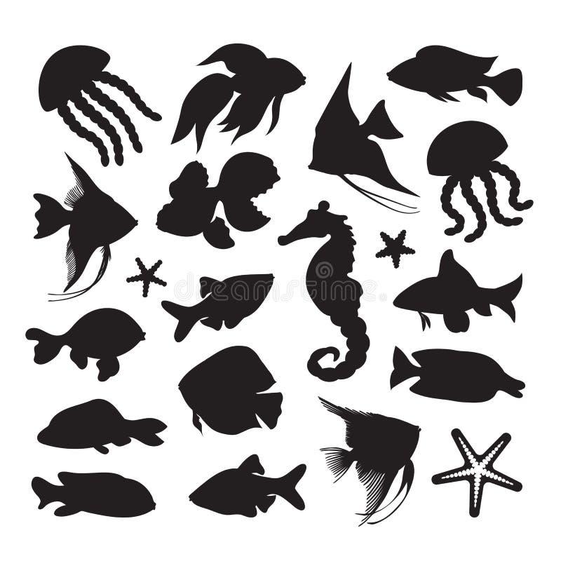 Het pictogrammen mariene leven royalty-vrije illustratie