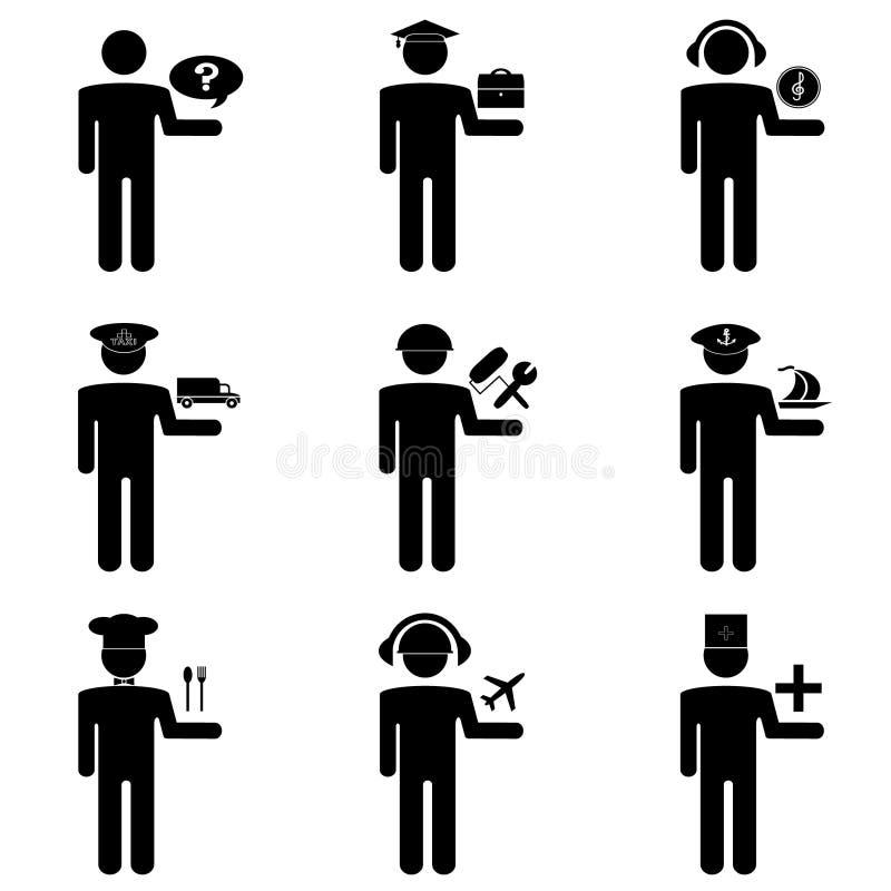 Het pictogrammenwerk en mensen stock illustratie