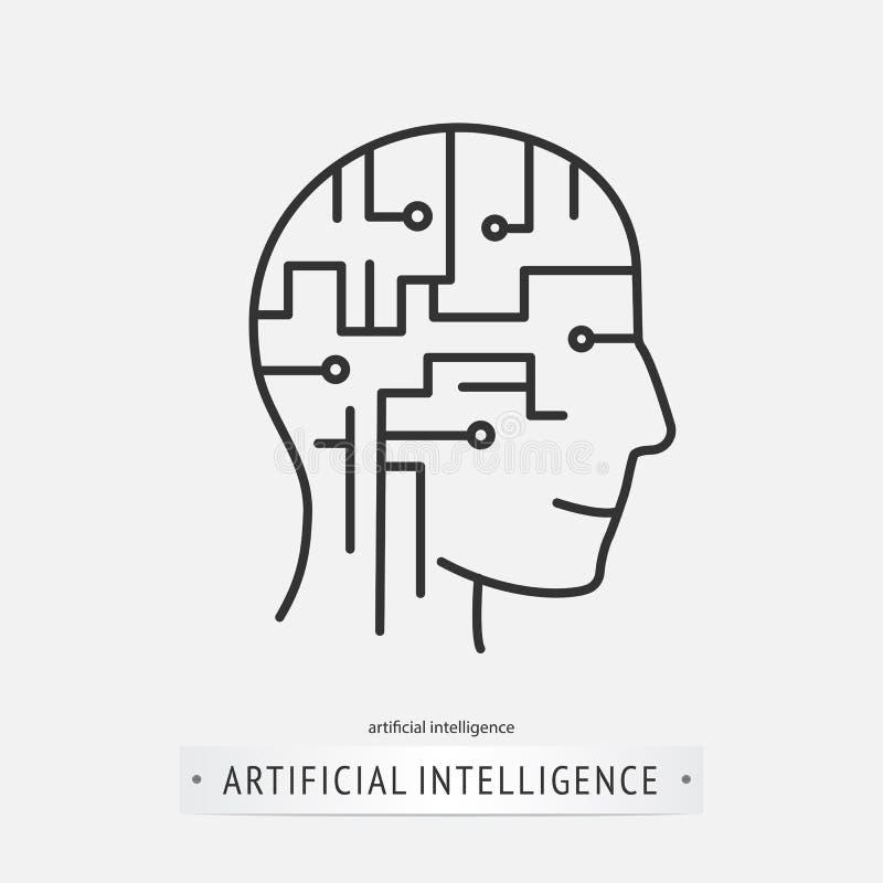 Het pictogramontwerp van de hersenenkunstmatige intelligentie royalty-vrije illustratie