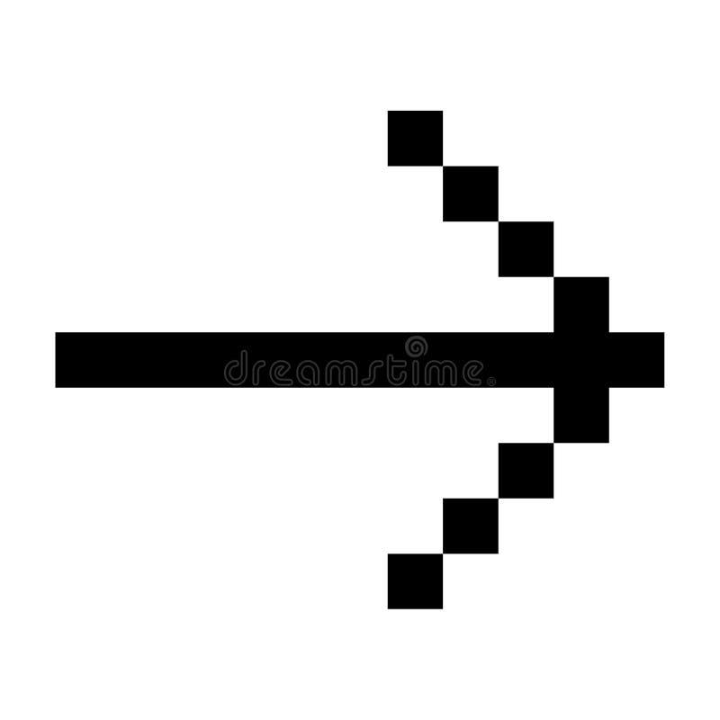 Het Pictogrampixel Art Style Black van de pijl Juist, Volgende stap royalty-vrije illustratie