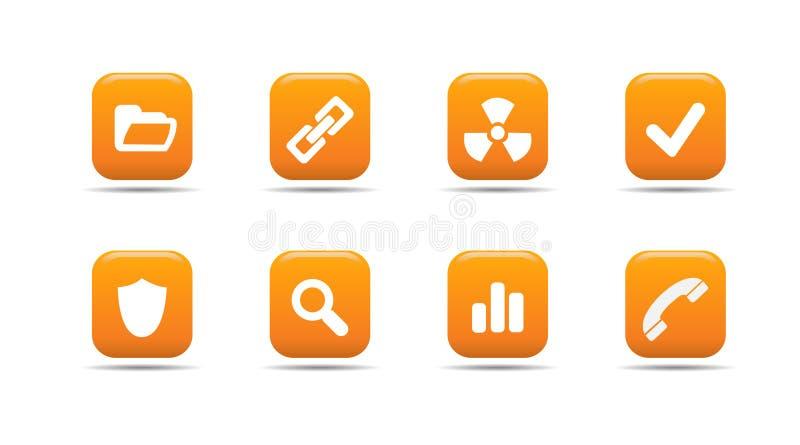 Het pictogramreeks 2 van het Web| De reeks van de abrikoos royalty-vrije illustratie