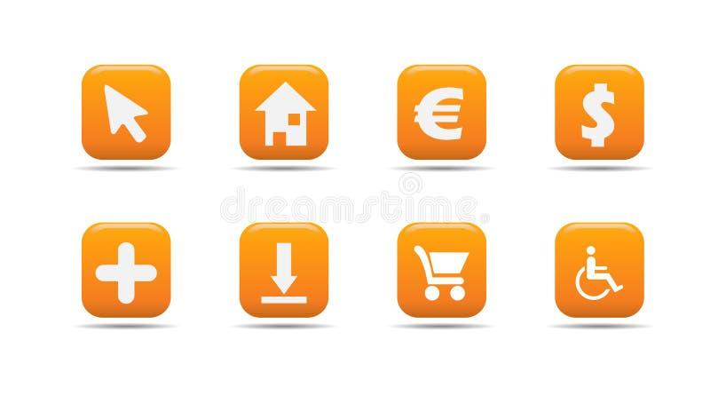 Het pictogramreeks 4 van het Web| De reeks van de abrikoos royalty-vrije illustratie