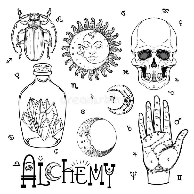 Het pictogramreeks van het alchimiesymbool Spiritualiteit, occultisme, chemie, mag stock illustratie