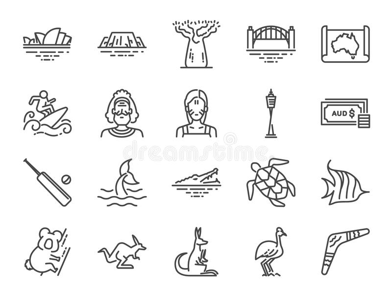 Het pictogramreeks van Australië Inbegrepen pictogrammen als het Australisch inheems, inheems, kangoeroe, koala, surfen, Sydney e