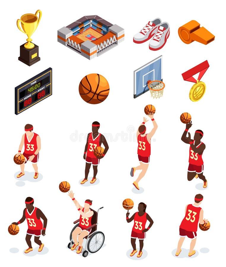Het Pictogramreeks van basketbalelementen stock illustratie