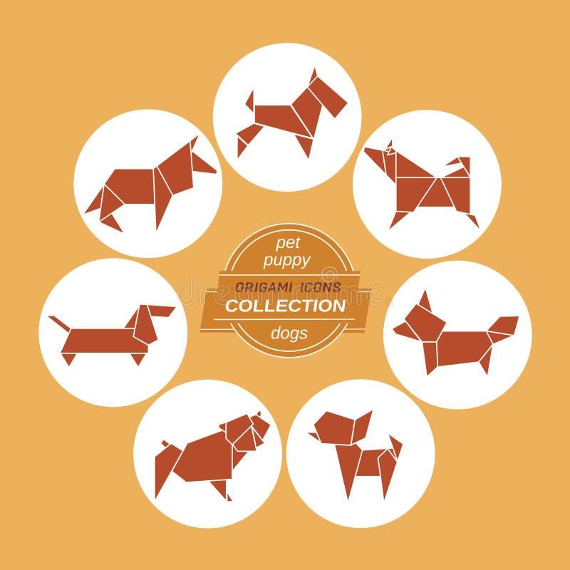 Het pictogramreeks van beeldverhaalhonden vector illustratie