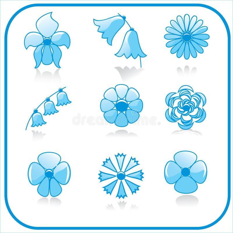 Het pictogramreeks van bloemen royalty-vrije illustratie