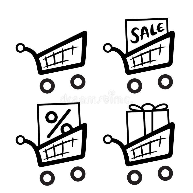 Het pictogramreeks van boodschappenwagentjes stock illustratie
