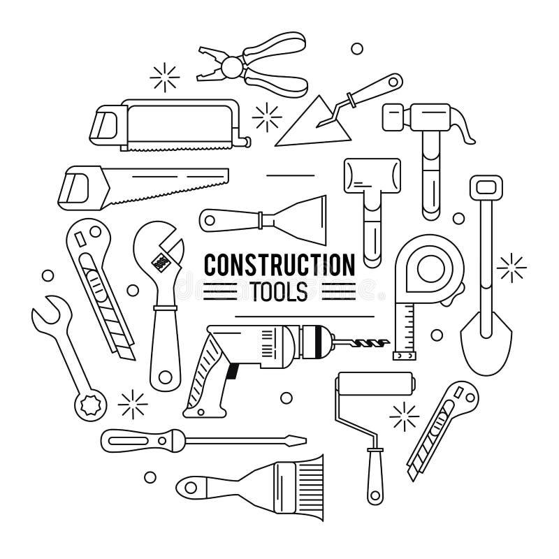 Het pictogramreeks van bouwhulpmiddelen stock illustratie