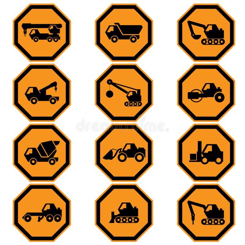 Het pictogramreeks van bouwvoertuigen royalty-vrije illustratie