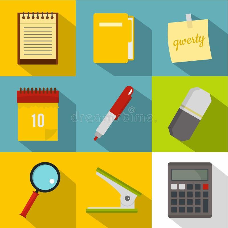 Het pictogramreeks van bureauhulpmiddelen, vlakke stijl stock illustratie