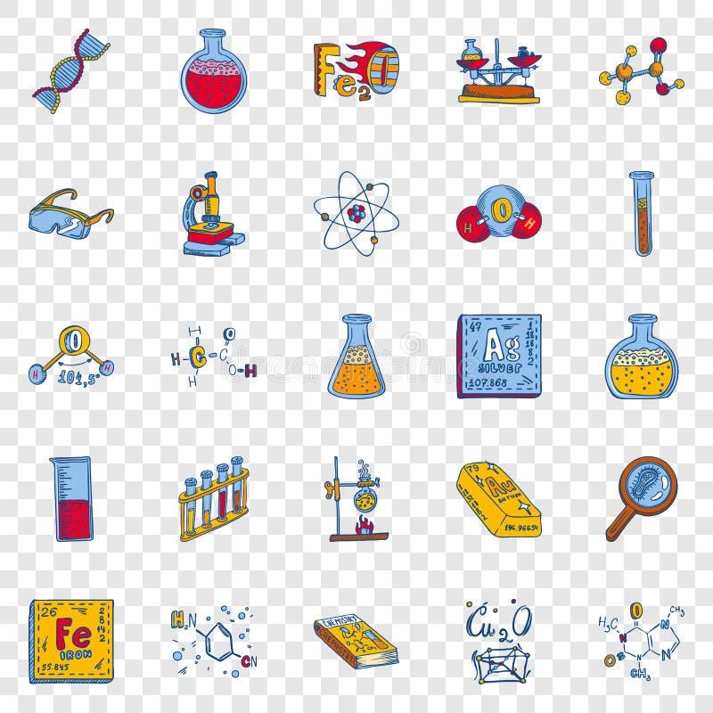 Het pictogramreeks van het chemielaboratorium, hand getrokken stijl vector illustratie
