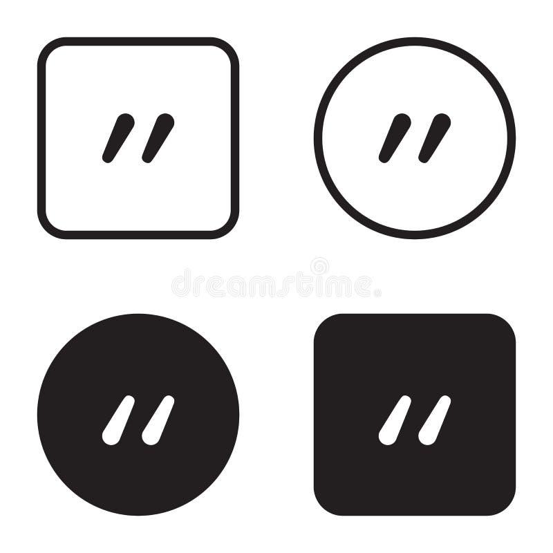 Het pictogramreeks van het citaatsymbool Citaatalineamarkering Teken van dubbele komma stock illustratie