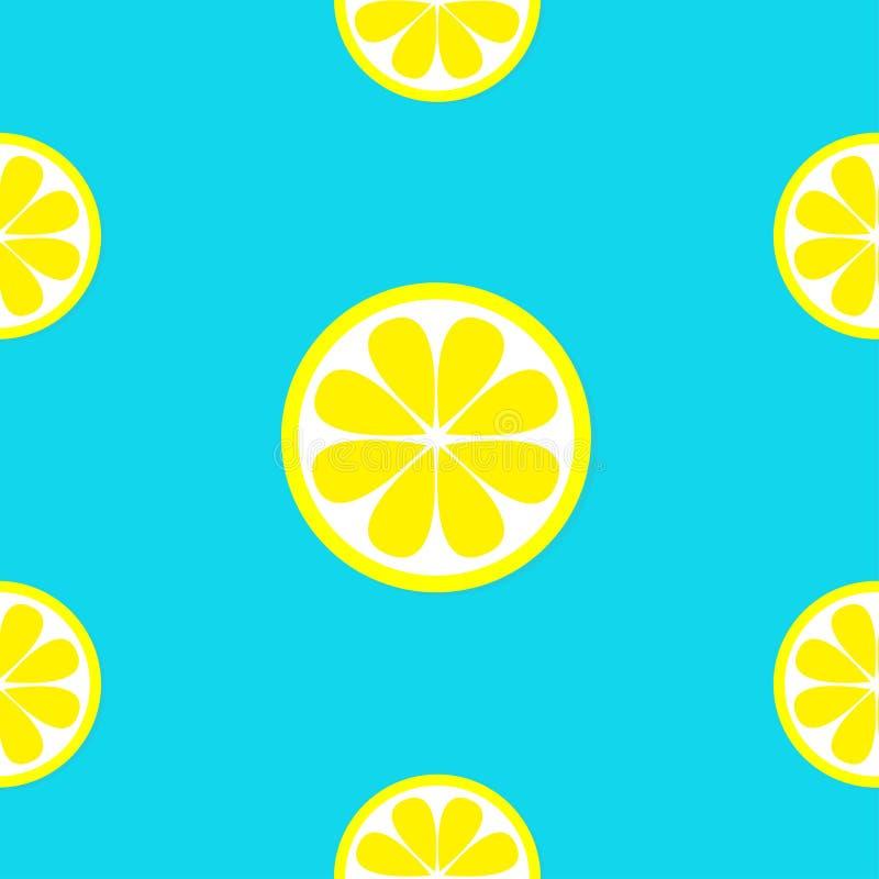 Het pictogramreeks van het citroenfruit Gele plak Halve besnoeiing Gezond levensstijlvoedsel Naadloos patroon Verpakkend document stock illustratie