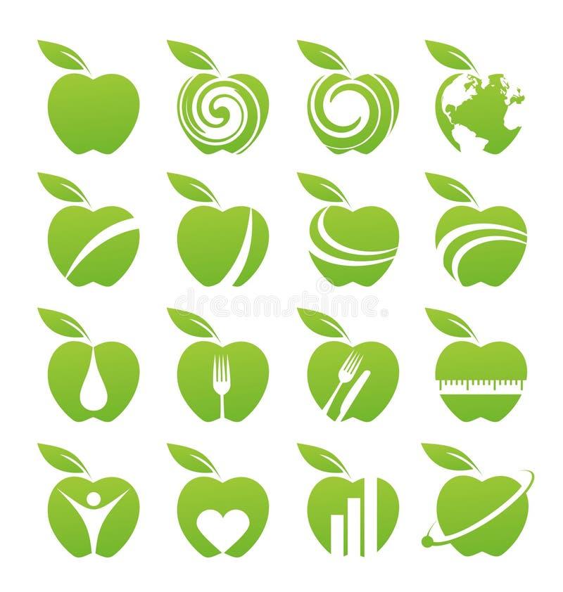 Het pictogramreeks van de appel vector illustratie