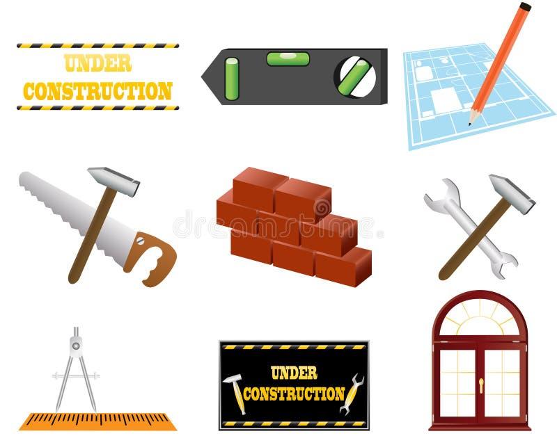 Het pictogramreeks van de architectuur stock illustratie