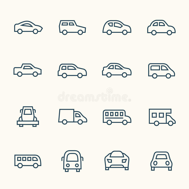 Het pictogramreeks van de autolijn stock illustratie
