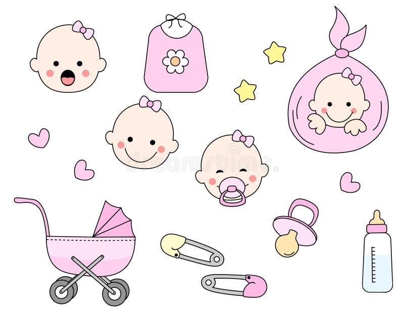 Het pictogramreeks van de baby stock illustratie