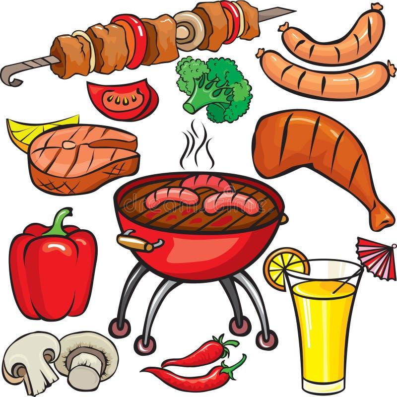 Het pictogramreeks van de barbecue royalty-vrije illustratie