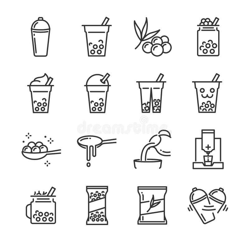Het pictogramreeks van de bellenthee Omvatte de pictogrammen als bel, melkthee, schok, drank, het gieten, bobasap en meer royalty-vrije illustratie