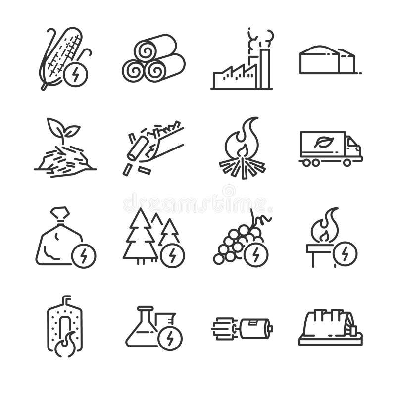 Het pictogramreeks van de biomassalijn Omvatte de pictogrammen als energie, brandstof, vernieuwbaar, turbine, elektrische central vector illustratie