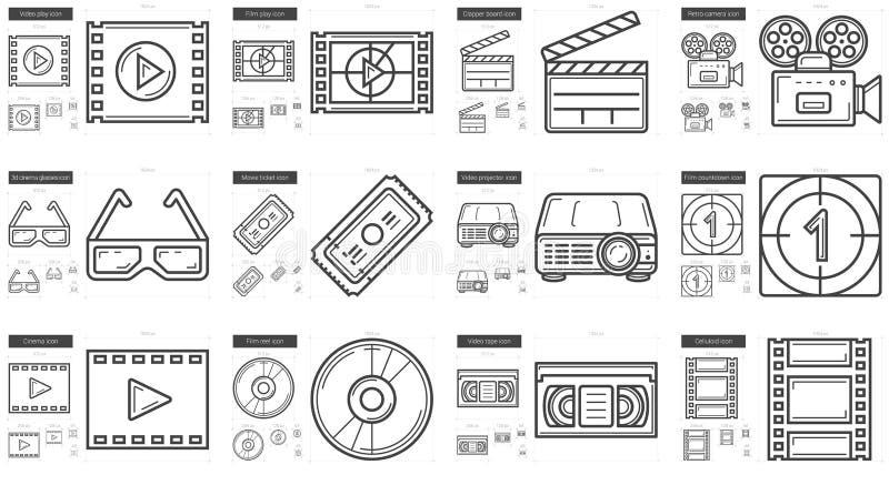 Het pictogramreeks van de bioskooplijn royalty-vrije illustratie