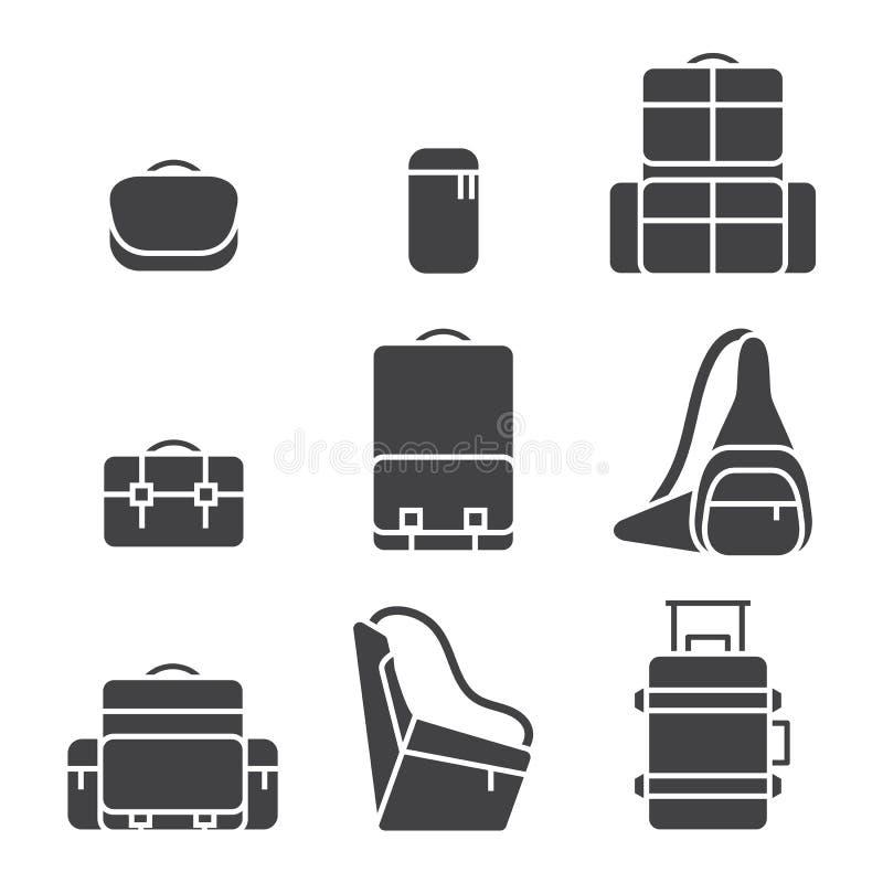 Het pictogramreeks van de camerazak vector illustratie