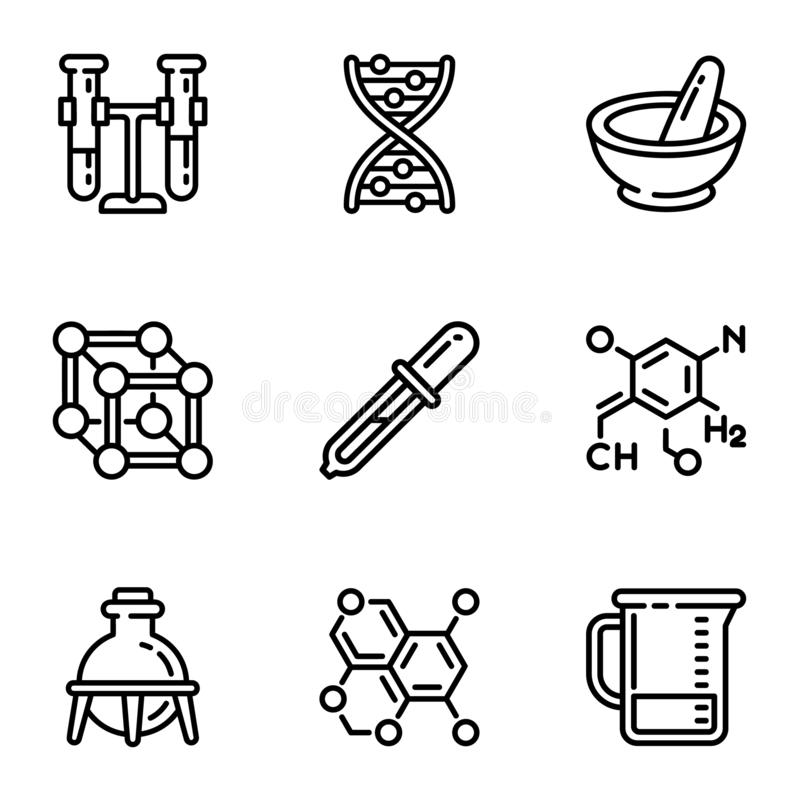 Het pictogramreeks van de chemiewetenschap, overzichtsstijl royalty-vrije illustratie