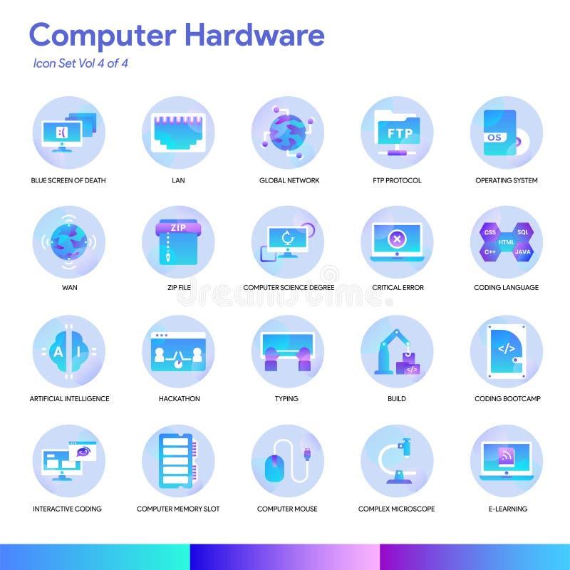 Het pictogramreeks van de computerhardware Moderne gradiëntstijl Vectoreps 10 royalty-vrije illustratie