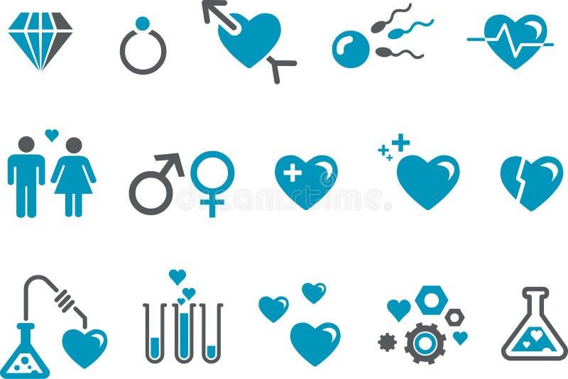Het pictogramreeks van de Dag van de valentijnskaart royalty-vrije illustratie