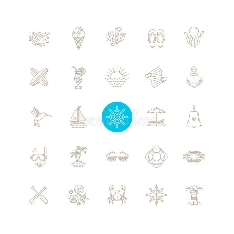 Het pictogramreeks van de de zomerreis royalty-vrije illustratie