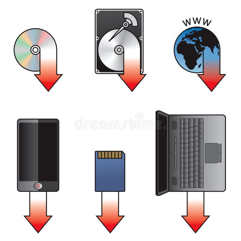 Het pictogramreeks van de download vector illustratie