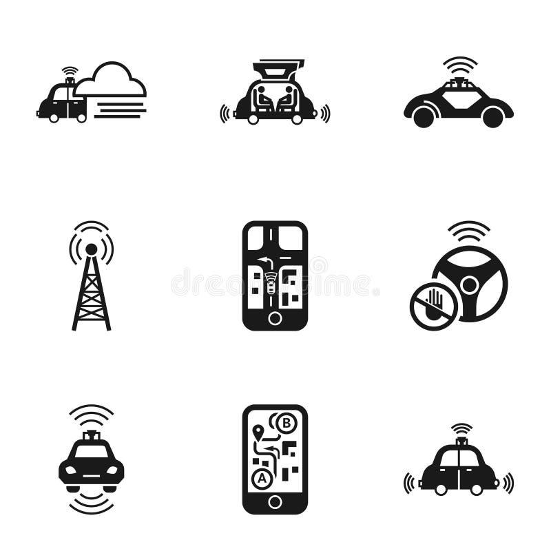 Het pictogramreeks van de Driverlessauto, eenvoudige stijl stock illustratie