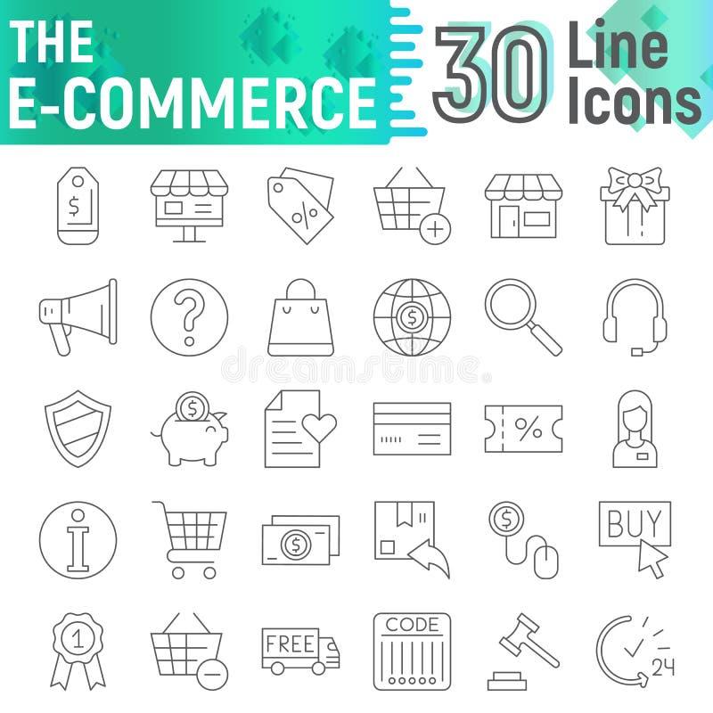 Het pictogramreeks van de e-commerce koopt de dunne lijn, het winkelen symboleninzameling, vectorschetsen, embleemillustraties, l royalty-vrije illustratie
