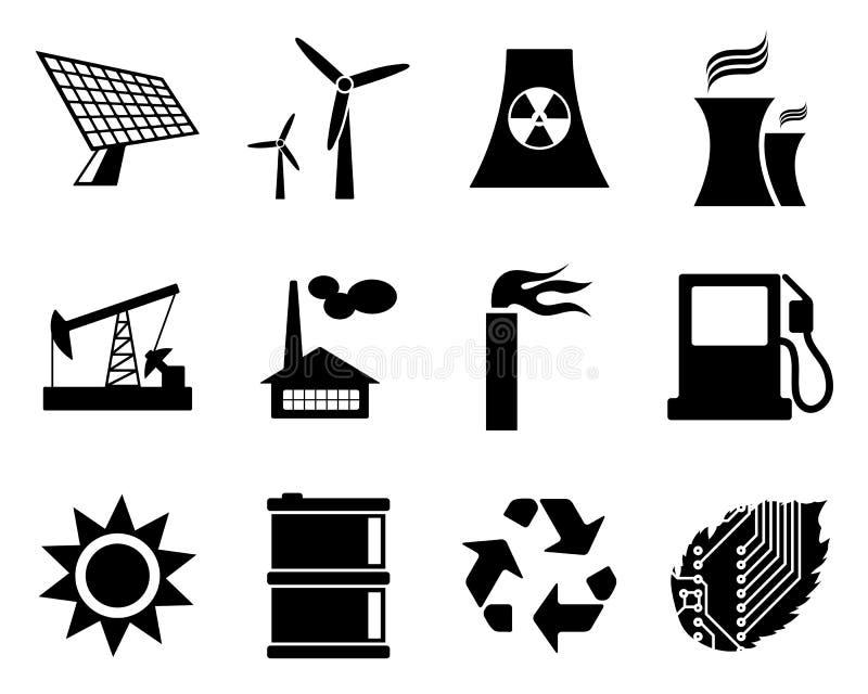Het pictogramreeks van de elektriciteit, van de macht en van de energie. stock illustratie